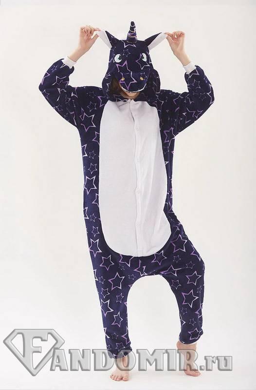 Кигуруми Единорог Ночной Звёздный Чёрный. Мех (пижамка) купить в ... 7ffae81082c9d