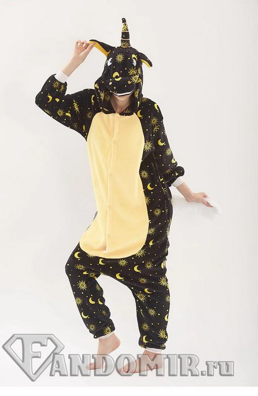 Кигуруми Единорог Ночной Чёрный. Мех (пижамка) купить в интернет ... eeb8ee53c7481