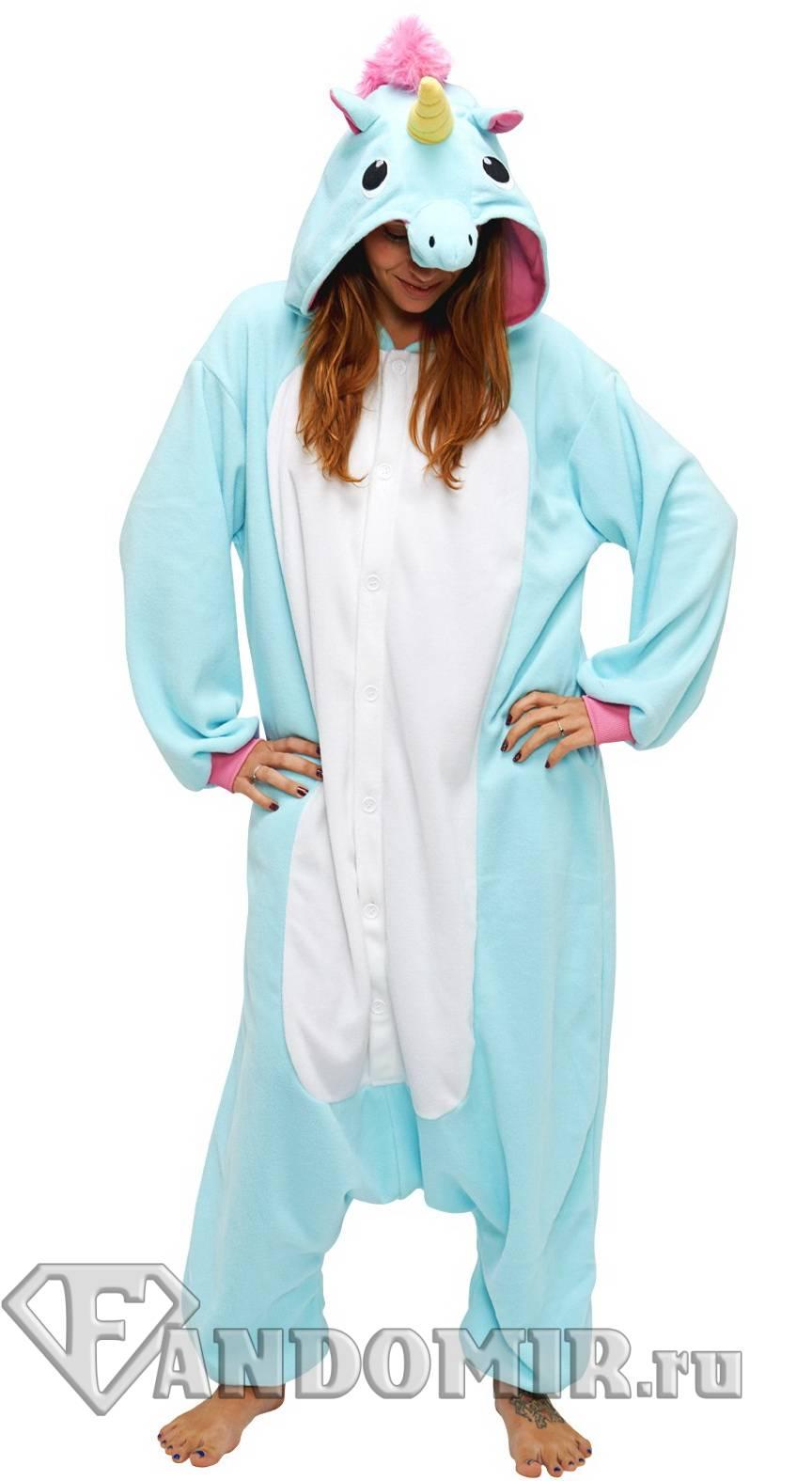 Кигуруми ЕДИНОРОГ. Голубой с белым. (Мех) купить в интернет-магазине ... 50e69029720a0