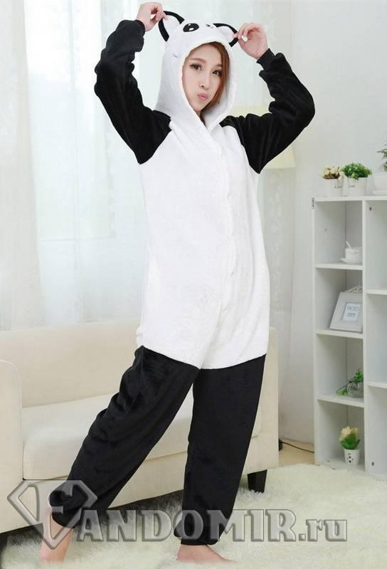 Кигуруми ПАНДА Белый с чёрным. (Мех) купить в интернет-магазине FandoMir 9c237add06891